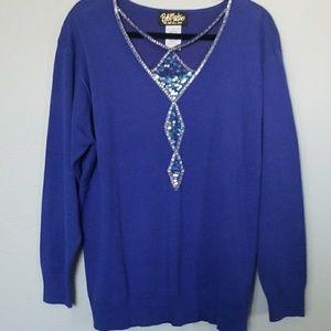 Bob Mackie wearable art sequin trim sweater large